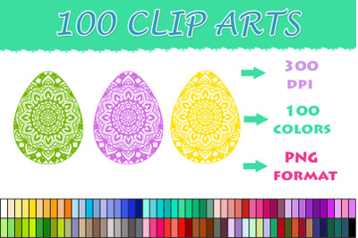 Easter Eggs Mandala clipart , 100 colors clipart