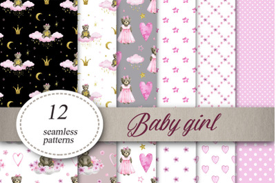 Baby girl Digital Paper Baby shower Seamless Patterns Pack of 12 sheets Watercolor Textile design, baby clothes