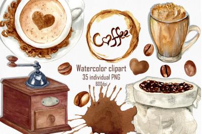 Watercolor coffee clipart, Coffee png, Coffee shop menu