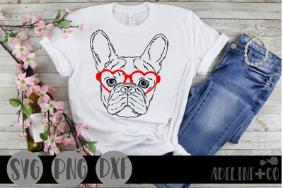 Frenchie with glasses, SVG, Valentine's Day