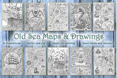 Old sea maps and drawings