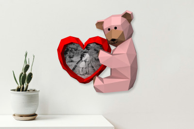 DIY Valentine Teddy Bear - 3d papercraft