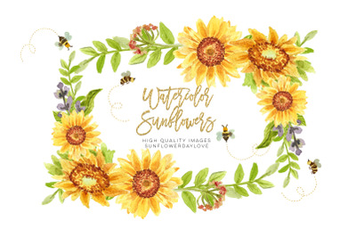 Sunflower honey bees clipart, Bees clipart watercolor, Spring Cute bee