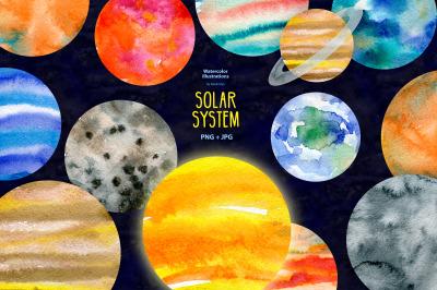 Watercolor Solar system