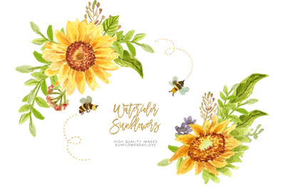 Sunflower Greenery and Bee clipart,  Sunflower and Bee clipart