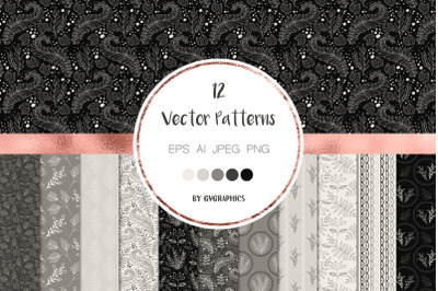 Elegant Monochrome Nature Vector Patterns and Seamless Tiles