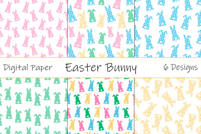 Easter Bunny Silhouettes pattern. Plaid Bunnies pattern