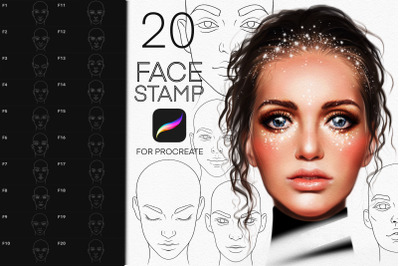 20 Faces Woman Stamp Brushes Procreate