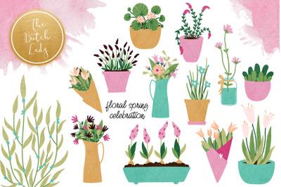 Spring Flower & Tulip Clipart Set