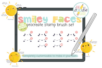Smiley Faces Procreate Stamp Brush