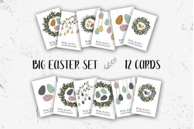 Holy Easter cards. Cute Easter egg. Eco rustic decoration