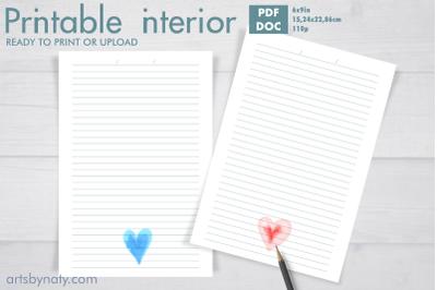 Watercolor hearts KDP interior notebook.