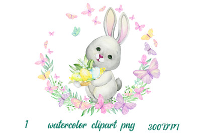 Watercolor Easter Bunny Clipart. Hand painted colorful egg, rabbit ani