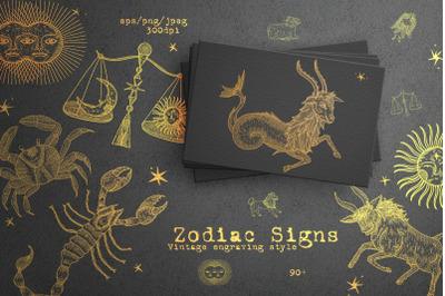 Retro vintage engraving style. Zodiac Signs