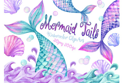 Watercolor Mermaid Tails Clipart Shells waves clip art children's girl