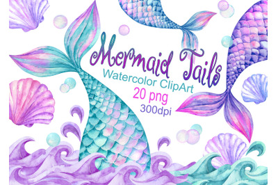 Watercolor Mermaid Tails Clipart Shells waves clip art children's girl
