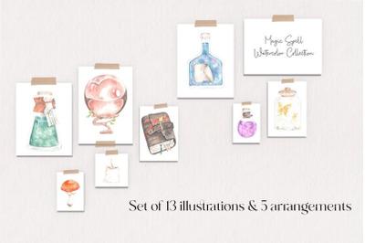 Watercolor Magic Potions, Magic School Clipart, Watercolor Magic Elements
