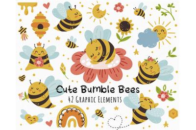 Cute Honey Bee kids clipart