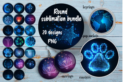 Round glowing symbols sublimation.