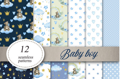 Baby boy Digital Paper Baby shower Seamless Patterns