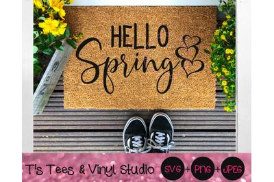 Spring SVG, Hello Spring, Hello, Welcome Spring, Hearts, Hello Spring