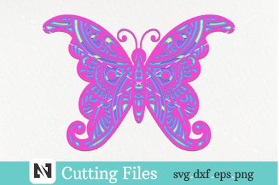 3D Butterfly Mandala Svg, 3D Layered Butterfly Svg, Mandala Svg