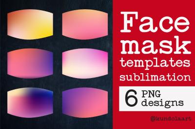 Face Mask sublimation designs. PNG. Gradient Pink Ombre Designs
