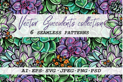 6 seamless patterns with succulents | SVG AI EPS PSD PNG JPEG