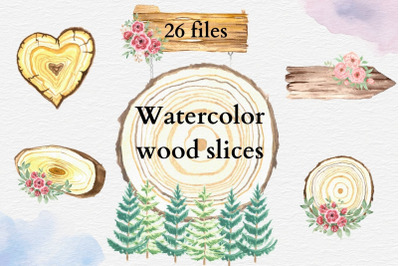 Watercolor Wooden Slices Frames, Rustic Wedding Signs, Hand Painted We