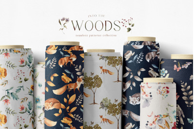 Woodland Scene Seamless Patterns JPEG Unique Repeats PNG
