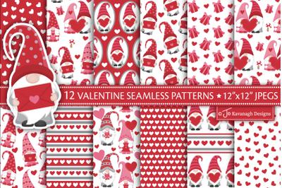 Valentine Digital Paper, Valentine Gnome Patterns P52