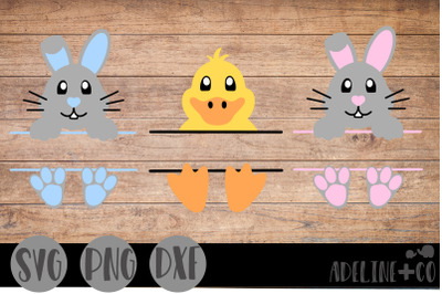 Easter bunny and duck split, SVG, Easter