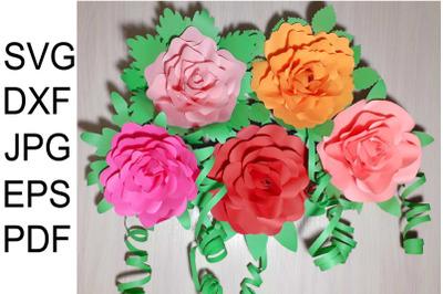 Paper Flower Template Bundle, Rose Templates SVG