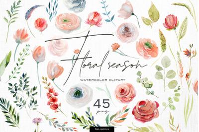 Floral season. Watercolor clipart.