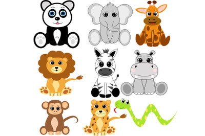 Safari animals svg, jungle animals svg, giraffe svg, panda svg, lion s