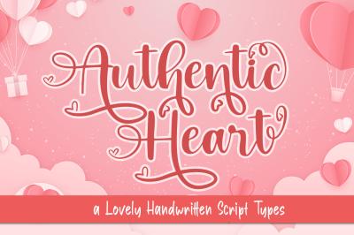 Authentic Heart a Lovely Handwritten Type