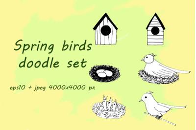 spring birds doodle set