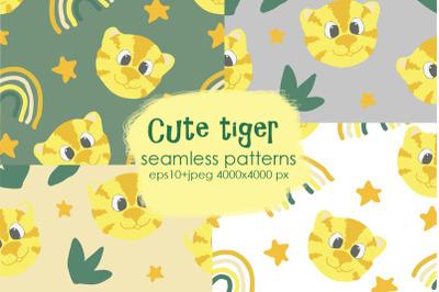 cute tiger seamless patterns set