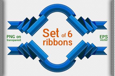 Set of 6 decorative ribbons. Flat style. Ribbon frame 02