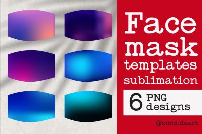 Face Mask sublimation designs. PNG. Gradient violet designs