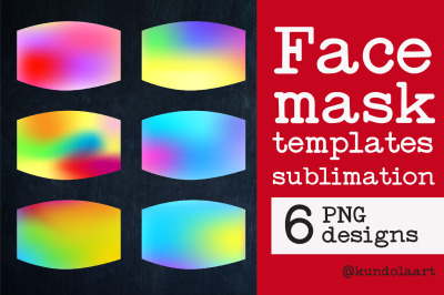 Face Mask sublimation designs. PNG. Gradient rainbow Ombre Designs