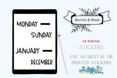 Days of the Week Stickers for planners, Journaling Stickers