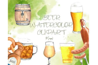 Watercolor Beer Clipart, Beer Bottles, Watercolor Pretzel