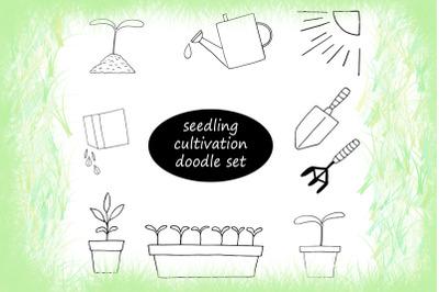 spring seedlings doodle set