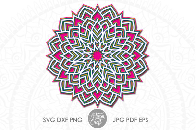 Layered mandala SVG, 3d mandala SVG, papercraft templates