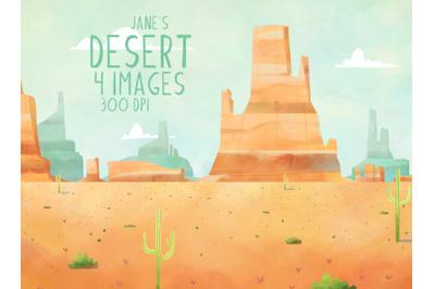 Watercolor Desert Clipart