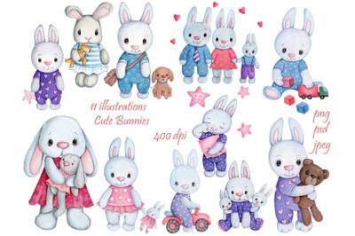 11 watercolor illustrations of cute Bunnies
