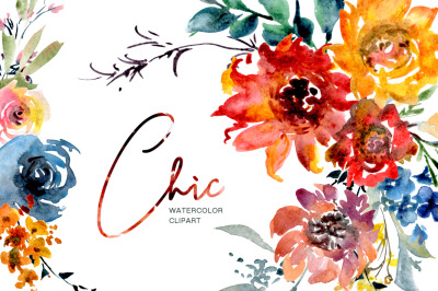 Chic Bright Watercolor Flowers Bouquets Frames