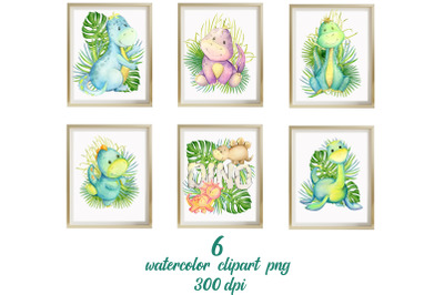 Watercolour clipart. Dinosaur print and tropical leaves. Nursery Wall