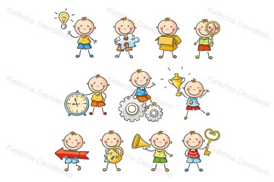 Cartoon little boy with different objects